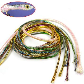 [ 2Pack /4m] Holographic Mylar Cord Gold Silver Pearl Flashabou Minnow Body Braid Flash Tubing for Fish Fly Tying Material 3mm