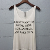 Wine, Animals, and Naps Graphic Tee