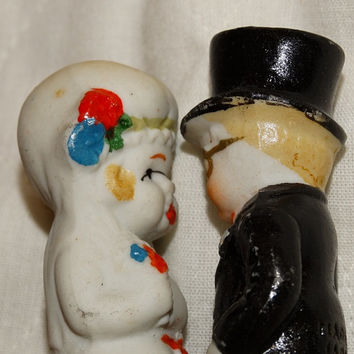 Vintage Bisque Wedding Cake Toppers, top Hat, Flapper girl, Tuxedo, Sweet Art Deco Cake Toppers, June Bride