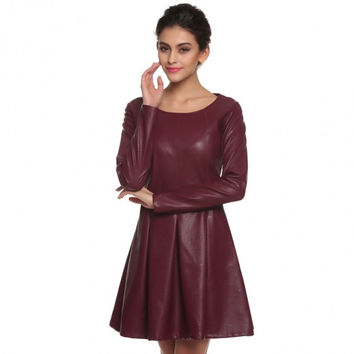 Cool Women Casual Synthetic Leather Dress Slim O-Neck Long Sleeve Pleated Dress