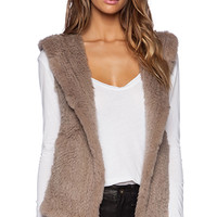 June Sheered Rabbit Fur Vest in Taupe