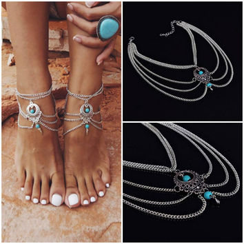 FREE Silver and Turquoise Boho Anklet
