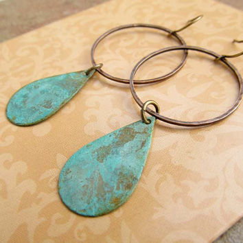 rustic Copper hoop with teardrop patina dangle