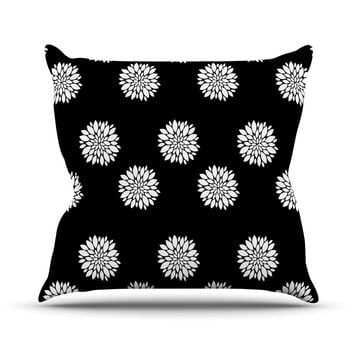 "Suzanne Carter ""Peony Rose"" Black White Outdoor Throw Pillow"