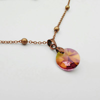 Lilac Shadow Crystal Necklace, Round Swarovski Pendant