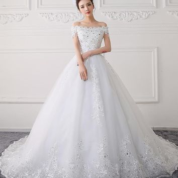 new spring and summer Qi in the sleeves with simple and concise body slim bride wedding dress