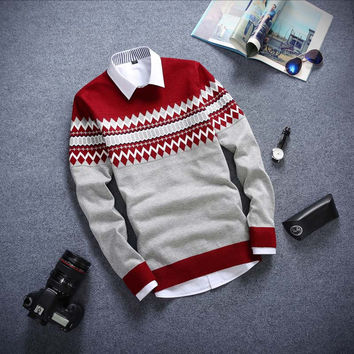 Long Sleeved Sweater Red Wine and Gray