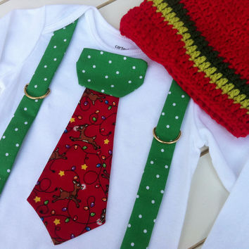 Baby Boy Christmas Tie Bodysuit or Shirt with Suspenders and Crocheted Hat - Christmas Holiday  - Boys Christmas Birthday