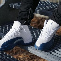 """Ready Stock"" aj12 Air Jordan 12 ""French Blue"" Men Women Sneaker 130690 113"