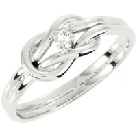 Sterling Silver Custom Made Round Genuine Diamond Love Knot Ring