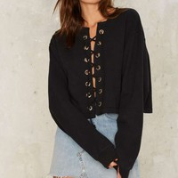 After Party by Nasty Gal Together at Last Lace-Up Sweatshirt