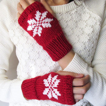 Hand Knit Fingerless Gloves in Dark Red - Embroidered Snowflake - Seamless Knit Gloves - Wool Blend - Made to Order
