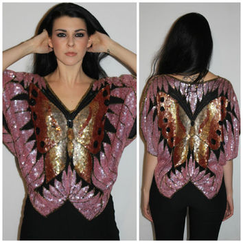Vintage SEQUIN BUTTERFLY Top, 70s Disco SILK Blouse, Draped Party Special Occasion Top by Swee Lo