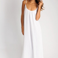 9 Seed Spaghetti strap long coverup in white