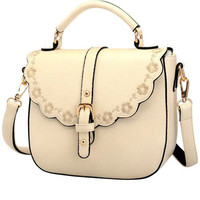 Cream Floral Trim PU Leather Shoulder Bag