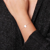 Blank or personalized Circle  - sterling silver monogram initial circle bracelet - everyday simple jewelry