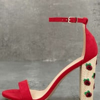 Fawna Red Suede Embroidered Ankle Strap Heels