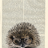 Geeky Hedgehog Glasses Illustration Beautifully Upcycled 1800s Encyclopedia Art Print