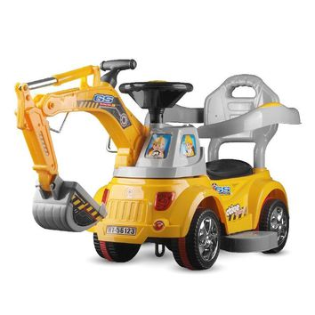 Children's Electric Excavator Digging Ride on Toys Kids Electric Excavator Riding Four wheels Engineering Vehicle Car