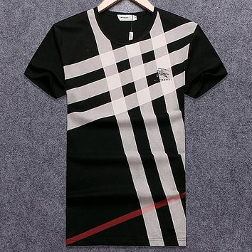 Burberry Men Fashion Casual Letter Shirt Top Tee
