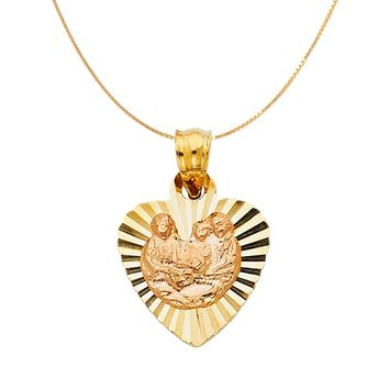 Baby Girl Baptism Heart Medal Necklace - 14K Solid Yellow Gold