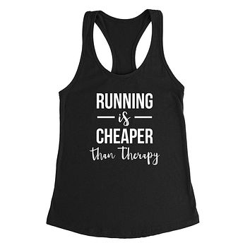 Running is cheaper than therapy workout gym fitness yoga graphic Ladies Racerback Tank Top