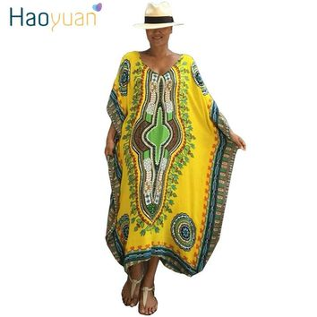 36c24f3b0a HAOYUAN African Print Kaftan Plus Size Beach Dress Women Dashiki