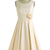 ModCloth Vintage Inspired Long Sleeveless Fit & Flare A Lighter Shade of Peach Dress
