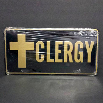 Clergy Cross Vanity License Plate Vintage Religious Car Truck Novelty Accessory She Shed Man Cave Retro Metal Wall Sign Decor Hanging Gift