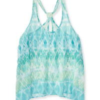 Sheer Watercolor Ikat Looped Racerback Tank