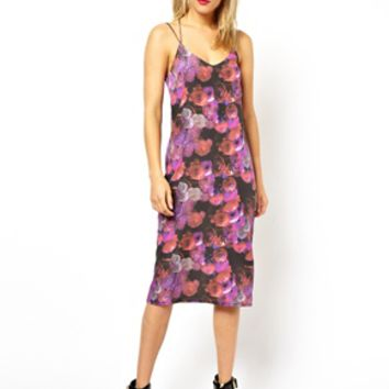 ASOS Floral Print Midi Dress - Purple