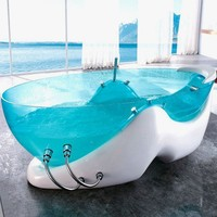 Futuristic Bathtub Design Made of Transparent Blue Acrylic | Home, Building, Furniture and Interior Design Ideas