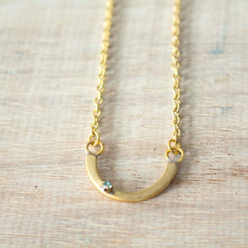 Brass bar minimal swarovski necklace