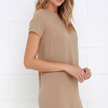 Shift and Shout Beige Shift Dress