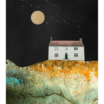 Solitude - Nature Art Print, Moon and Stars, Landscape Painting, Moon Art, Mixed Media Collage Art, House, Giclee Print