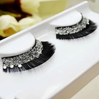 Fashion Stage Crystal False Eyelashes Glitter Bright And Creative Bridal Makeup False Eyelashes Sequin Thick False Eyelashes