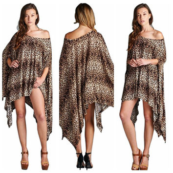 Stylish Hot Sale Irregular Print Plus Size Fashion Batwing Sleeve Women's Fashion Bat Leopard One Piece Dress = 5858605185