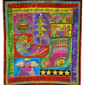 Christmas Quilt Wall Hanging in Laurel Burch Blessings