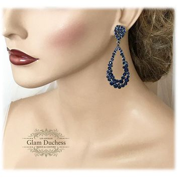 Navy Blue Crystal Bridal Victorian Drop Earrings