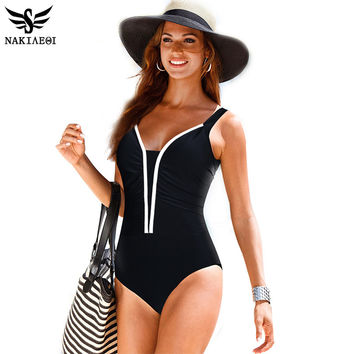 One Piece Swimsuit Women Swimwear Female Retro Plus Size Swimwear Vintage Large Bathing Suit Swim Beachwear Black