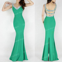 SALES>>Backless Mermaid Prom Wedding Cocktail Evening Gown Long Bridesmaid Dress