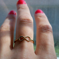 24kt Gold vermeil Infinity stacking ring, forever/ friendship ring - custom made to any size