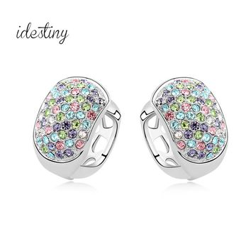 clip earrings with ear piercing made with Austria crystal white gold color fashion jewelry micro paved with cristal