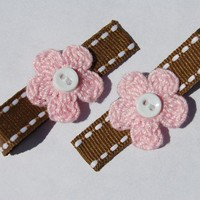 Pink Brown Hair Clips Flower Crochet with by ThatsTheCutestThing