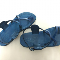 blue leather summer sandal womens sandals with back strap handmade strappy sandals
