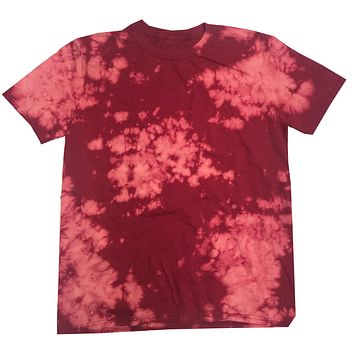 Bleach Out Tie Dye Shirt Colorful Red T-Shirt