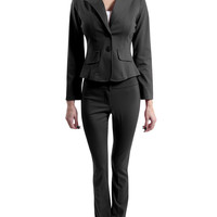 LE3NO Womens Fitted Blazer and Pants Suit Set with Back Pleat