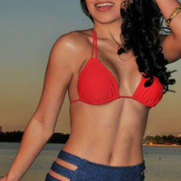 Red and Blue High Waisted Bikini with Cut Outs