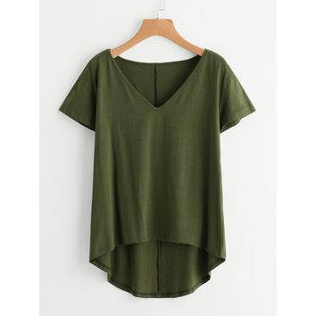 Solid Dip Hem T-shirt Army Green