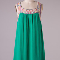 Embroidered Sleeveless Dress - Jade